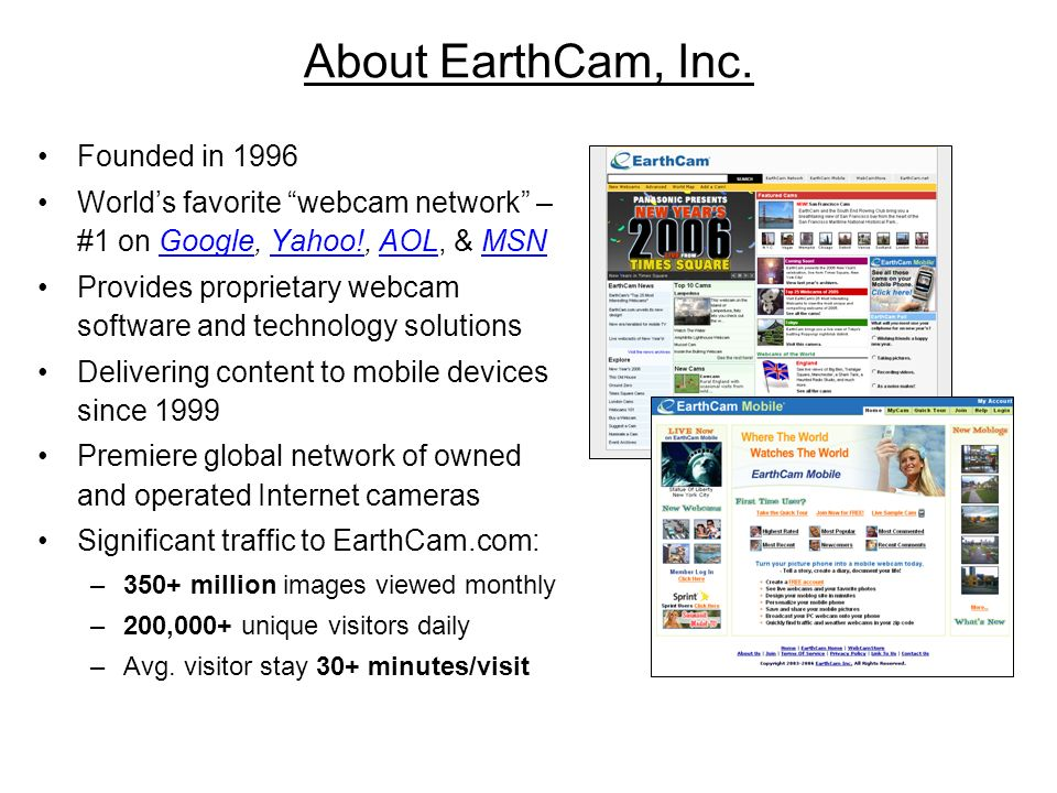 About EarthCam, Inc. Founded in 1996