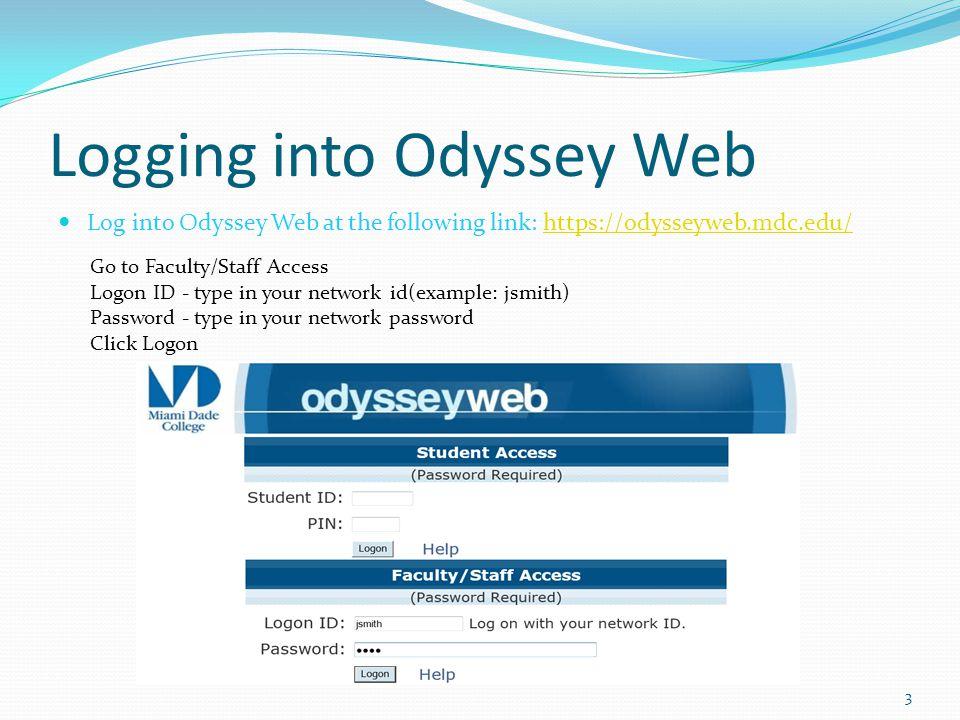Logging into Odyssey Web