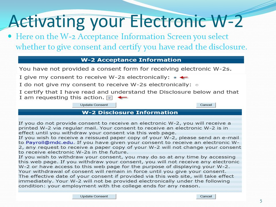 Activating your Electronic W-2