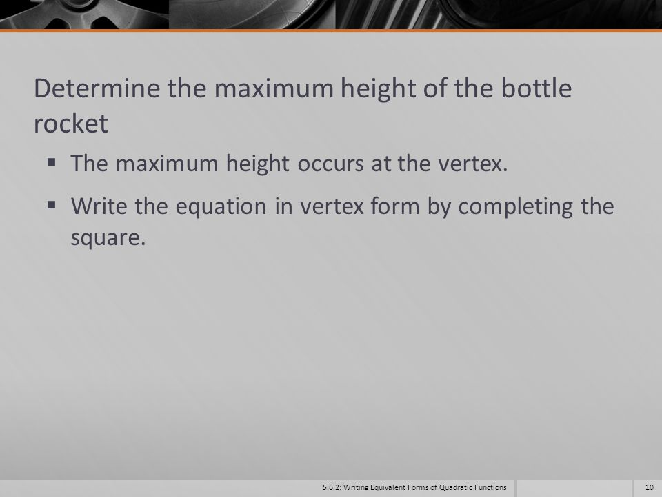 Determine the maximum height of the bottle rocket