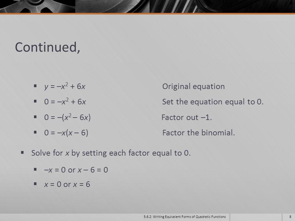Continued, y = –x2 + 6x Original equation