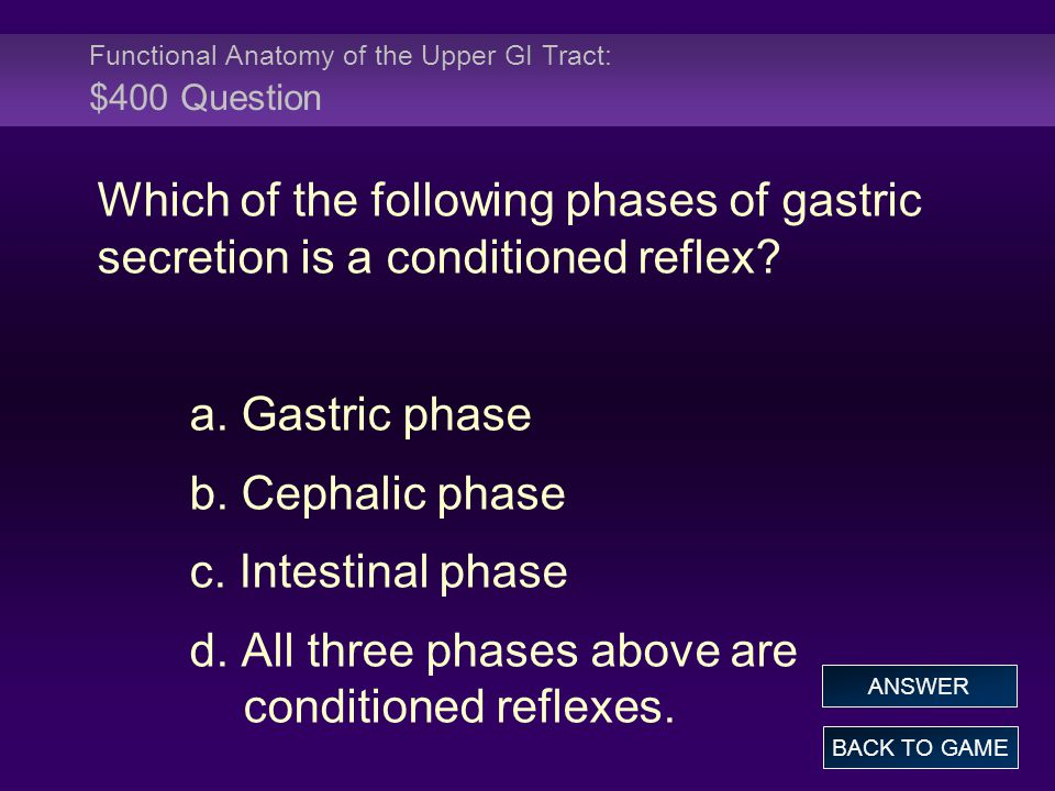 Functional Anatomy of the Upper GI Tract: $400 Question