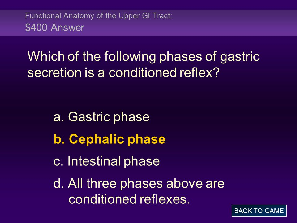 Functional Anatomy of the Upper GI Tract: $400 Answer