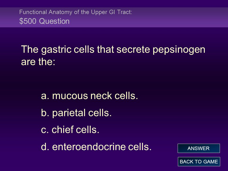 Functional Anatomy of the Upper GI Tract: $500 Question