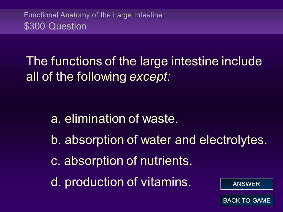 Functional Anatomy of the Large Intestine: $300 Question