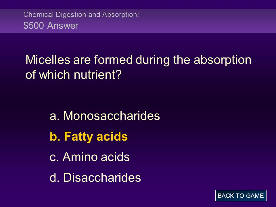 Chemical Digestion and Absorption: $500 Answer