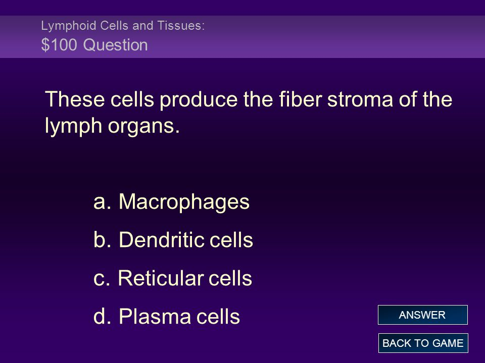 Lymphoid Cells and Tissues: $100 Question