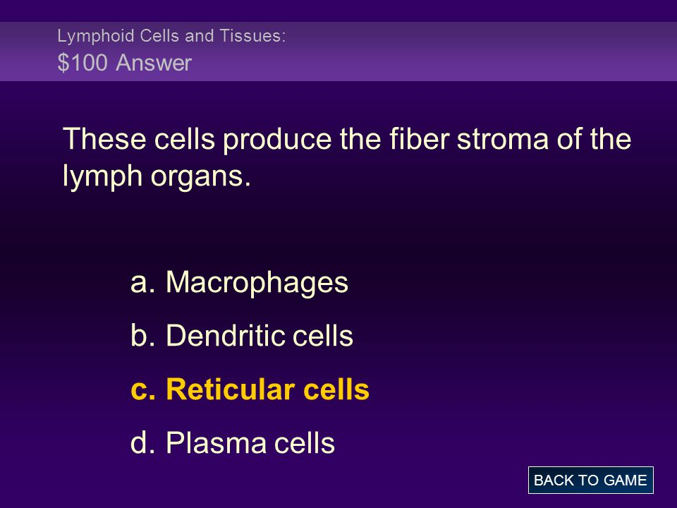 Lymphoid Cells and Tissues: $100 Answer