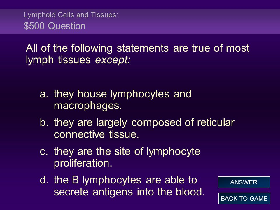 Lymphoid Cells and Tissues: $500 Question