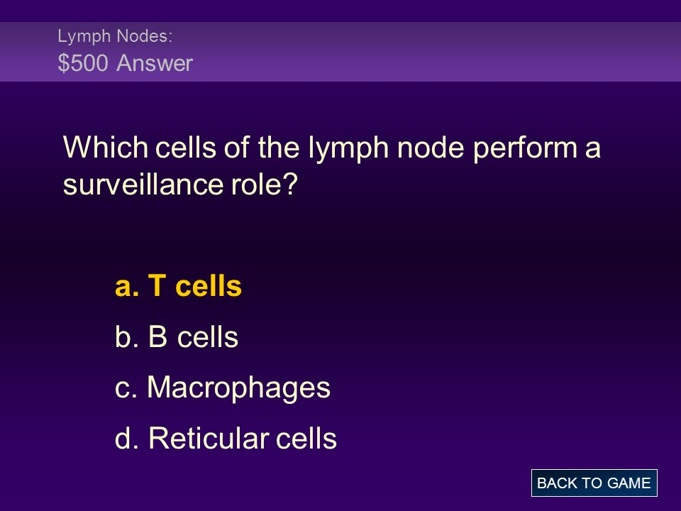 Which cells of the lymph node perform a surveillance role
