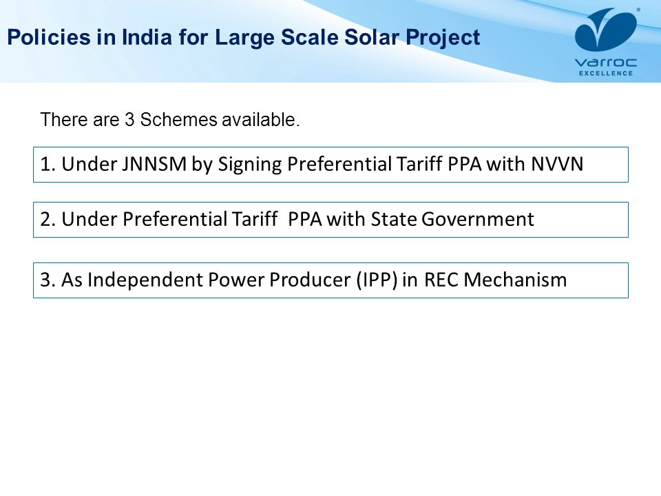 Policies in India for Large Scale Solar Project