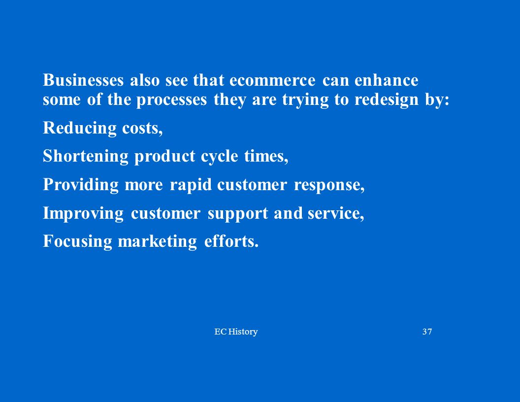Businesses also see that ecommerce can enhance some of the processes they are trying to redesign by: