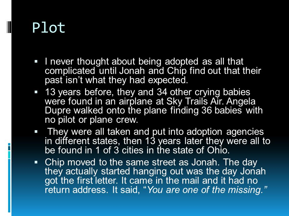 Plot I never thought about being adopted as all that complicated until Jonah and Chip find out that their past isn't what they had expected.