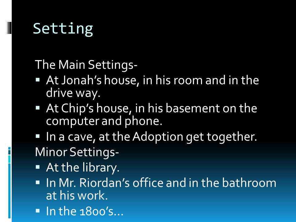 Setting The Main Settings-