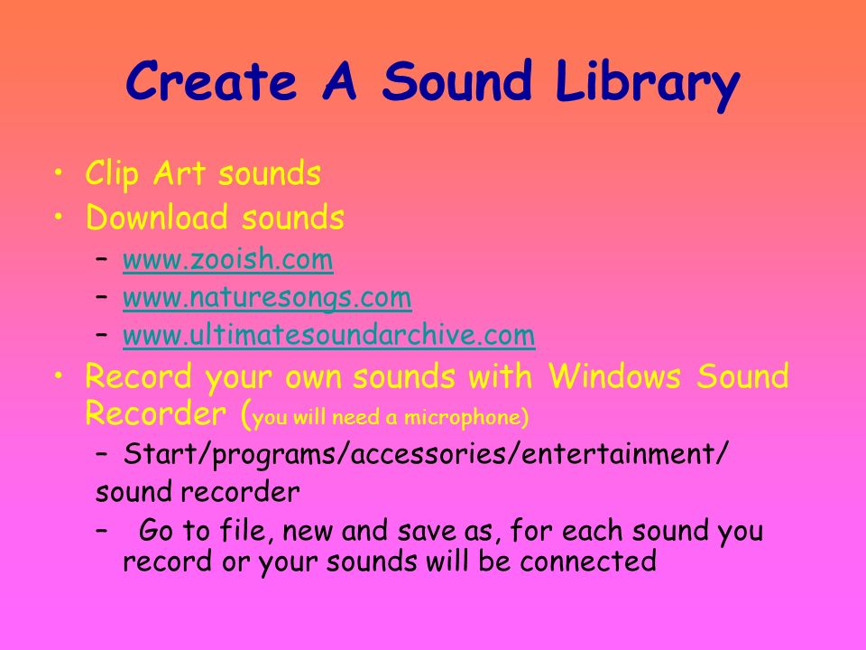 Create A Sound Library Clip Art sounds Download sounds