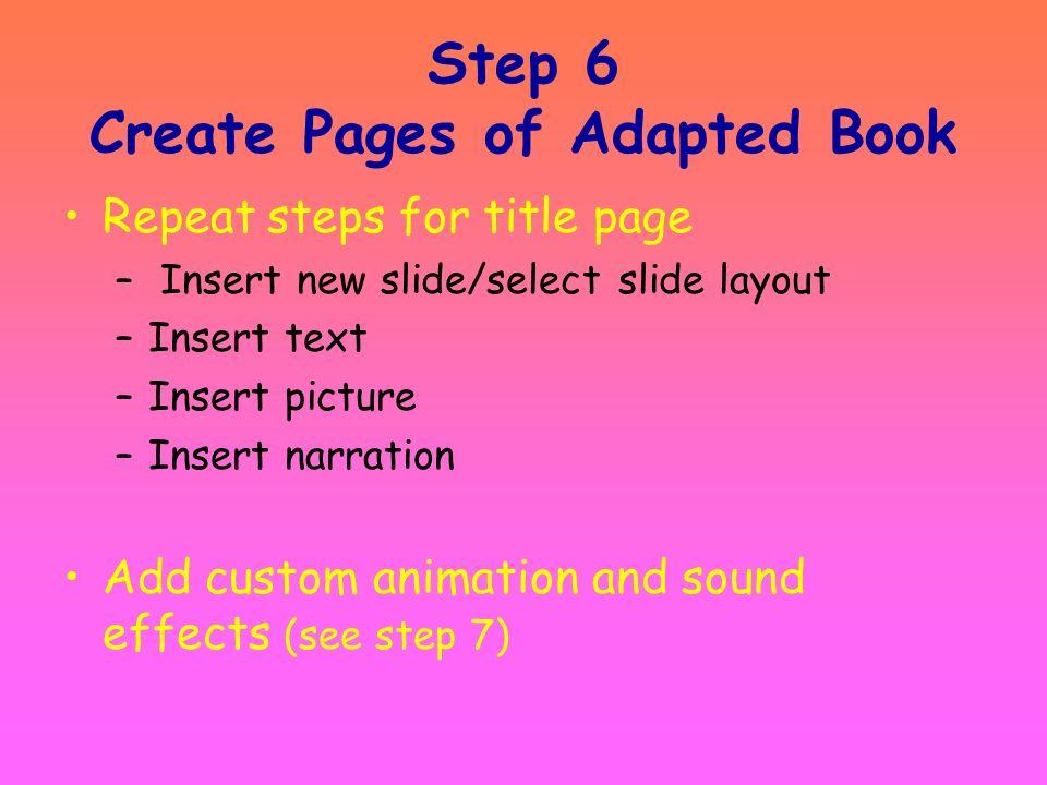 Step 6 Create Pages of Adapted Book