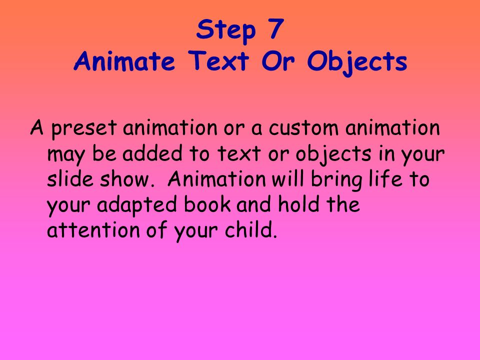 Step 7 Animate Text Or Objects