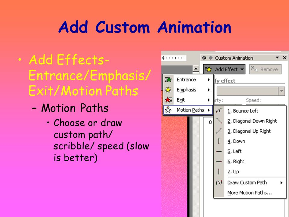 Add Custom Animation Add Effects-Entrance/Emphasis/Exit/Motion Paths