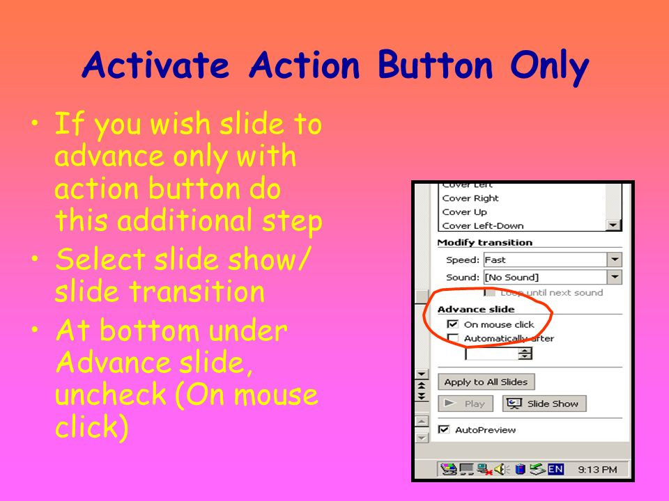 Activate Action Button Only