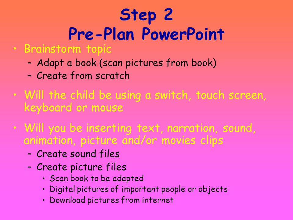 Step 2 Pre-Plan PowerPoint
