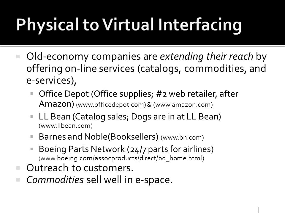 Physical to Virtual Interfacing