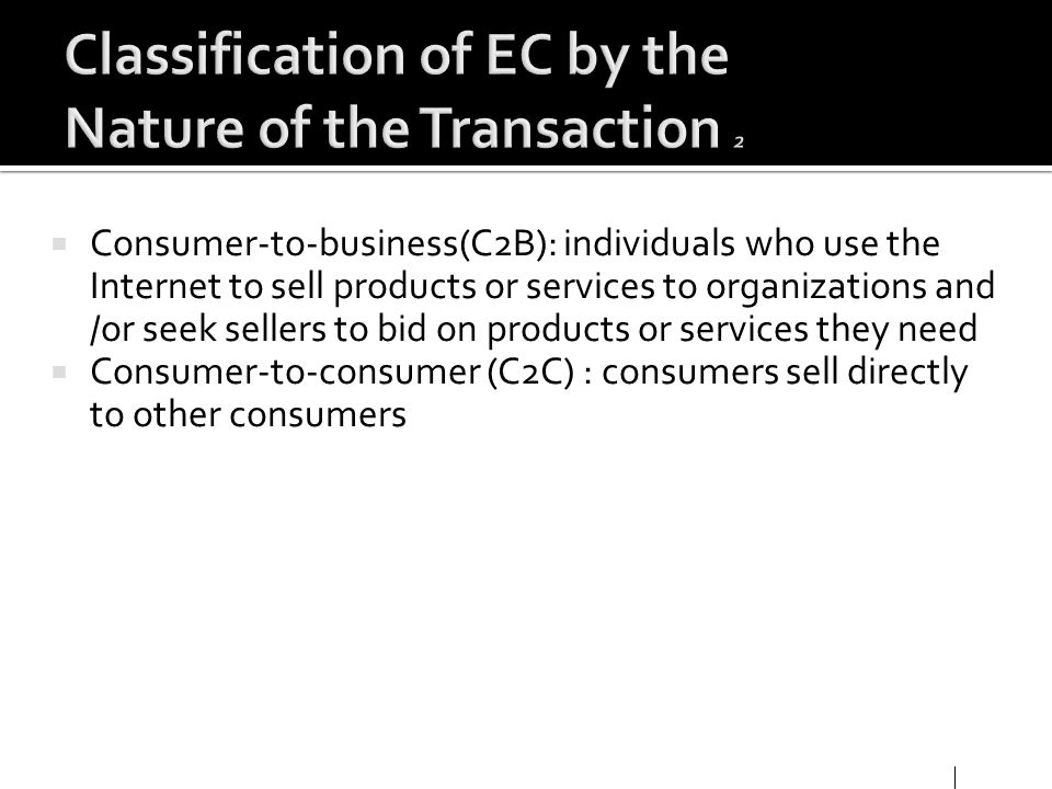 Classification of EC by the Nature of the Transaction 2