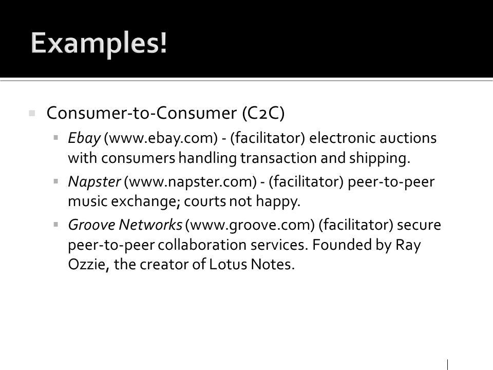 Examples! Consumer-to-Consumer (C2C)