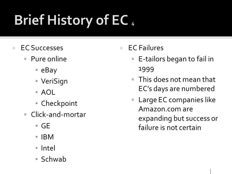 Brief History of EC 4 EC Successes Pure online eBay VeriSign AOL