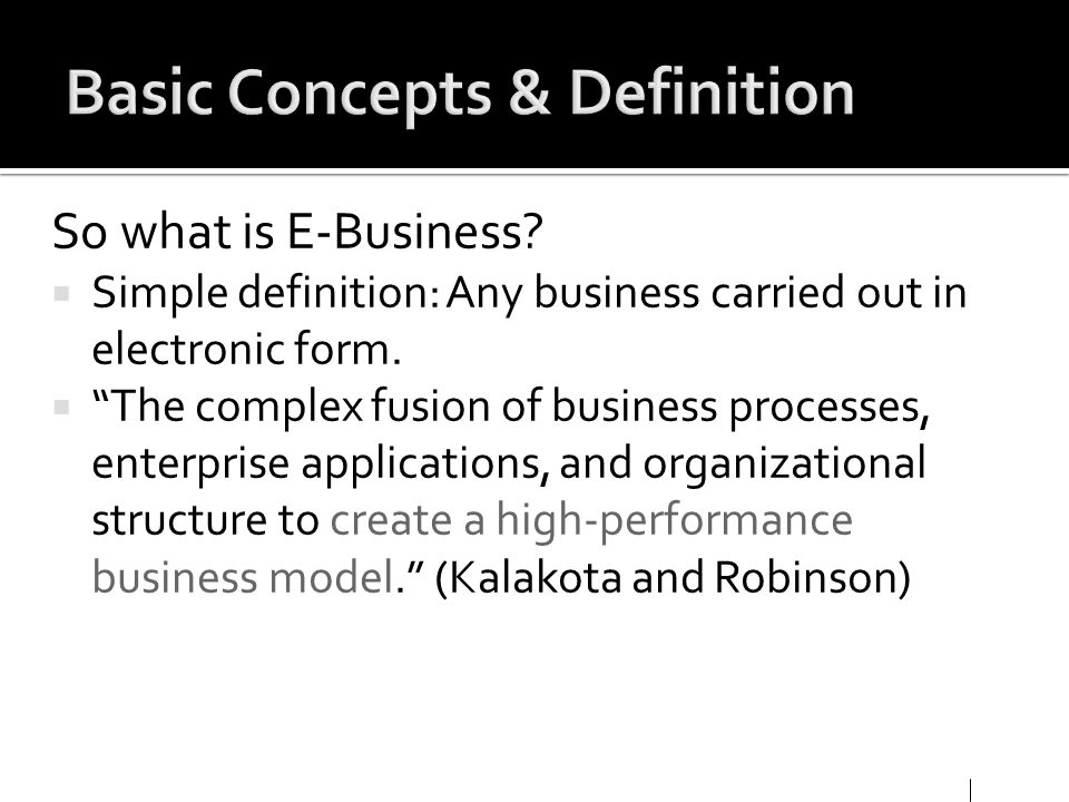 Basic Concepts & Definition