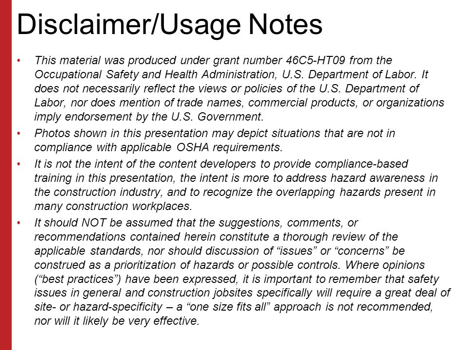 Disclaimer/Usage Notes