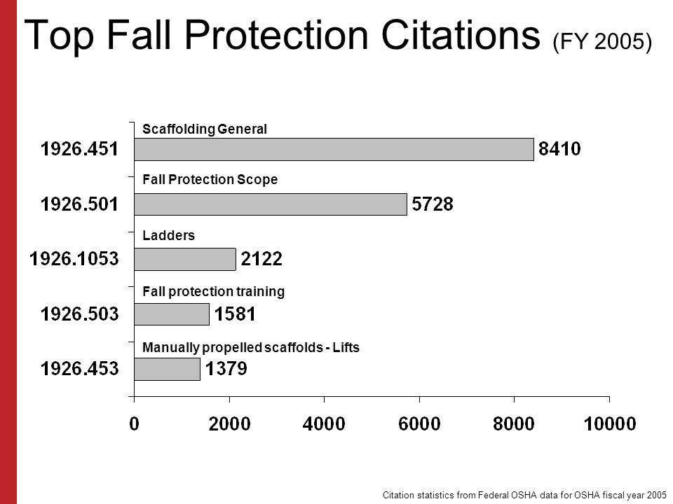 Top Fall Protection Citations (FY 2005)
