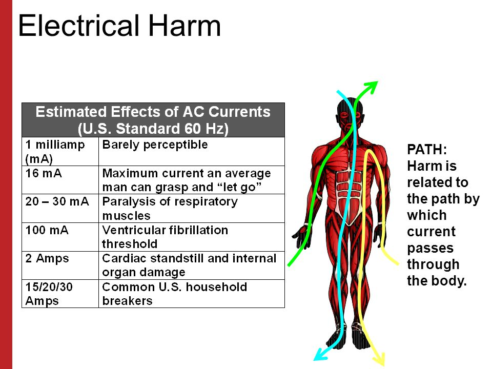 Electrical Harm PATH: Harm is related to the path by which current passes through the body.