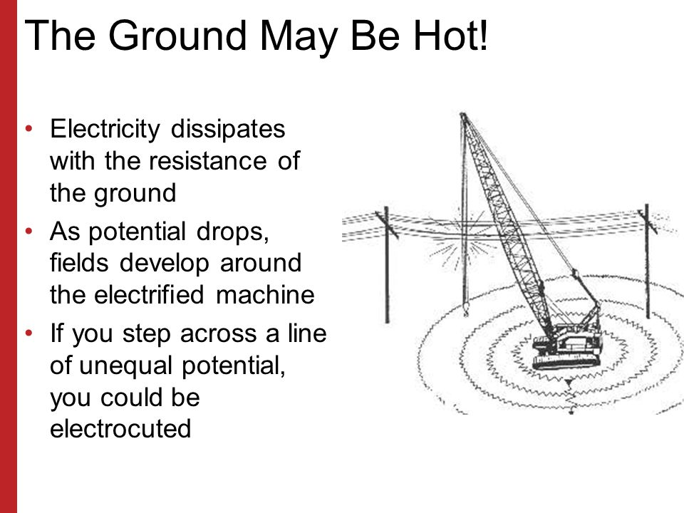 The Ground May Be Hot! Electricity dissipates with the resistance of the ground. As potential drops, fields develop around the electrified machine.