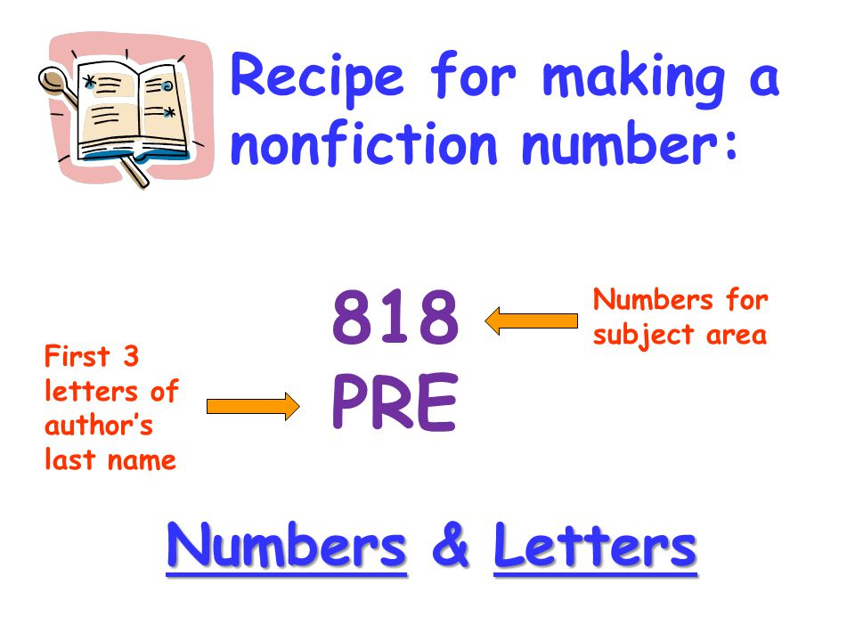 818 PRE Recipe for making a nonfiction number: Numbers & Letters