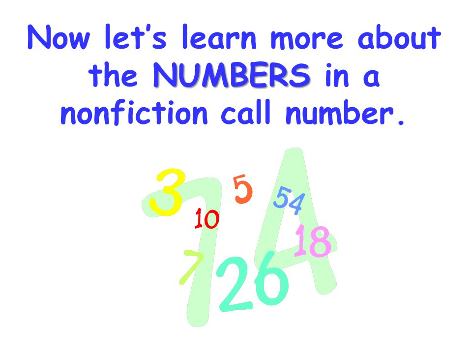 Now let's learn more about the NUMBERS in a nonfiction call number.