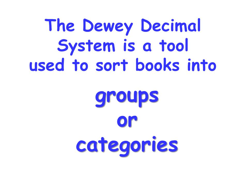The Dewey Decimal System is a tool used to sort books into