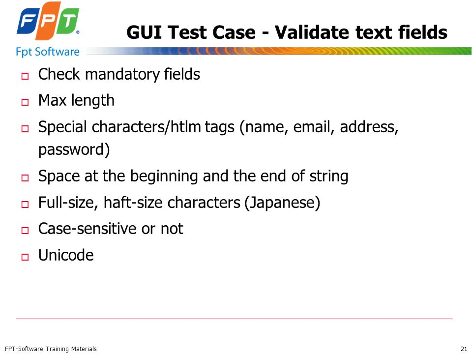 GUI Test Case - Validate text fields