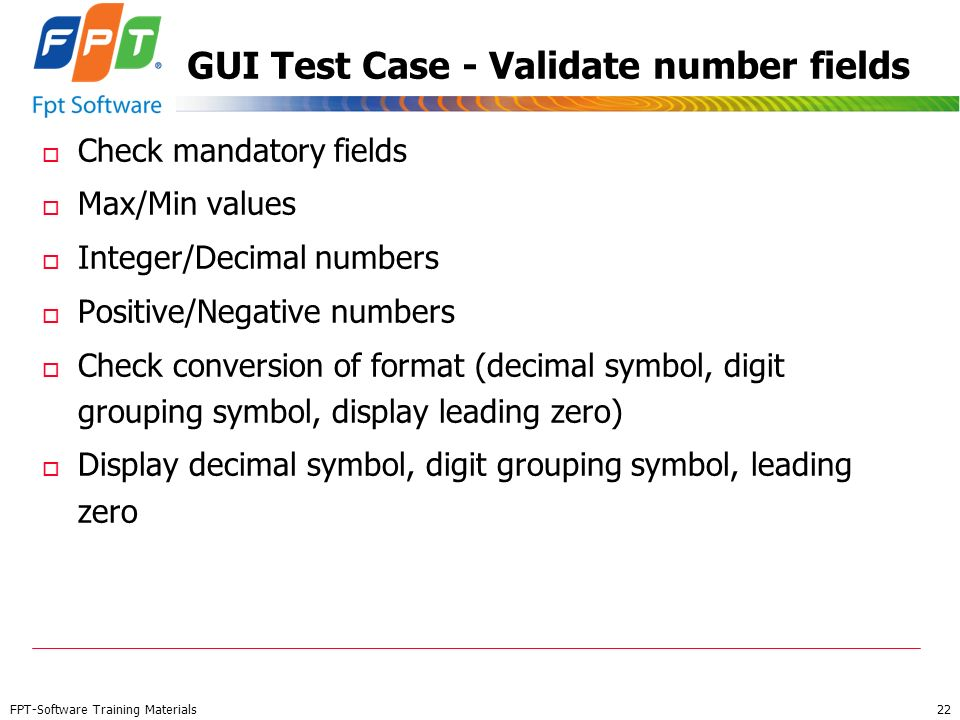 GUI Test Case - Validate number fields