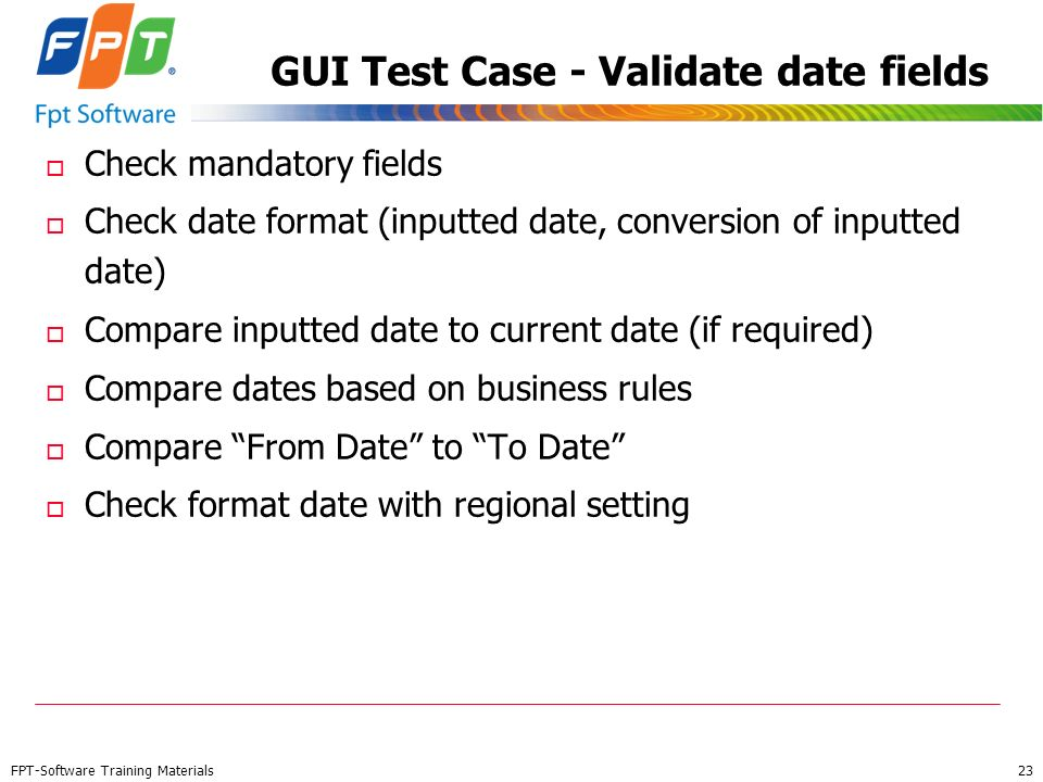 GUI Test Case - Validate date fields