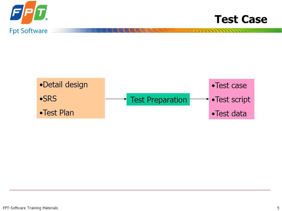 Test Case Detail design Test case SRS Test script Test Plan Test data