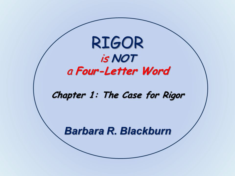 rigor is not a four letter word chapter 1 the case for rigor