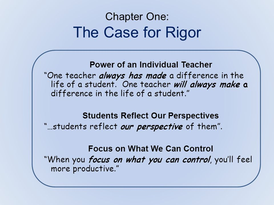 chapter one the case for rigor