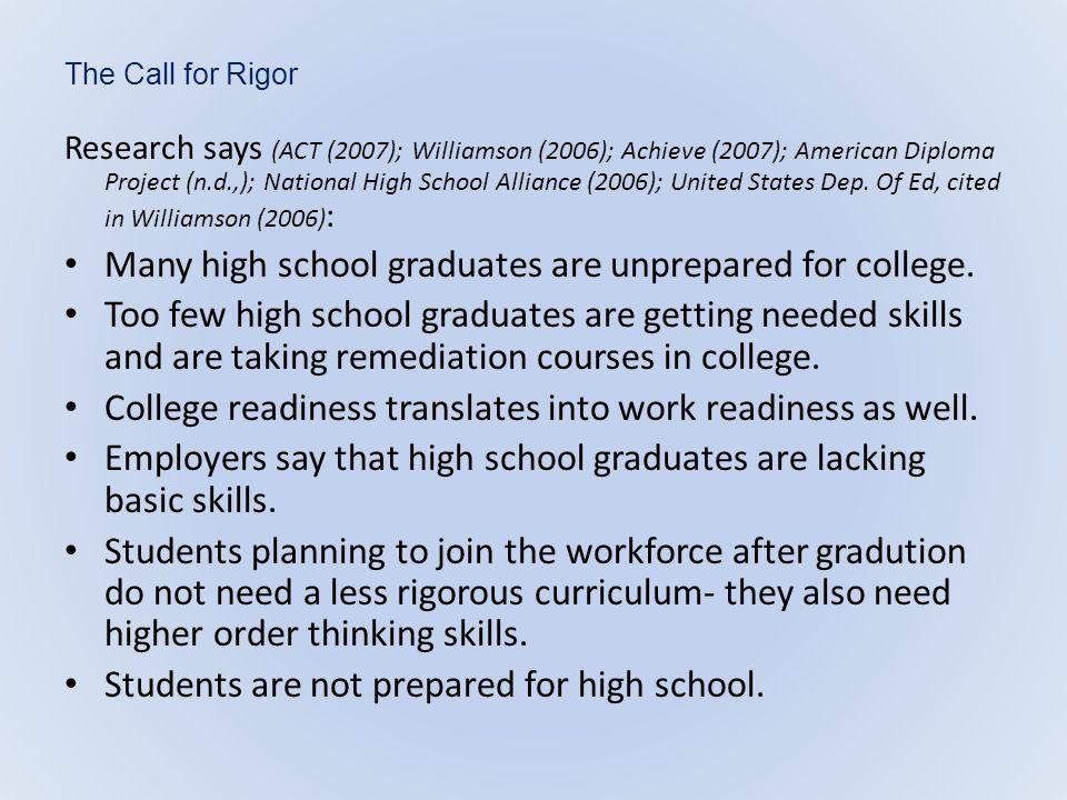Many high school graduates are unprepared for college.