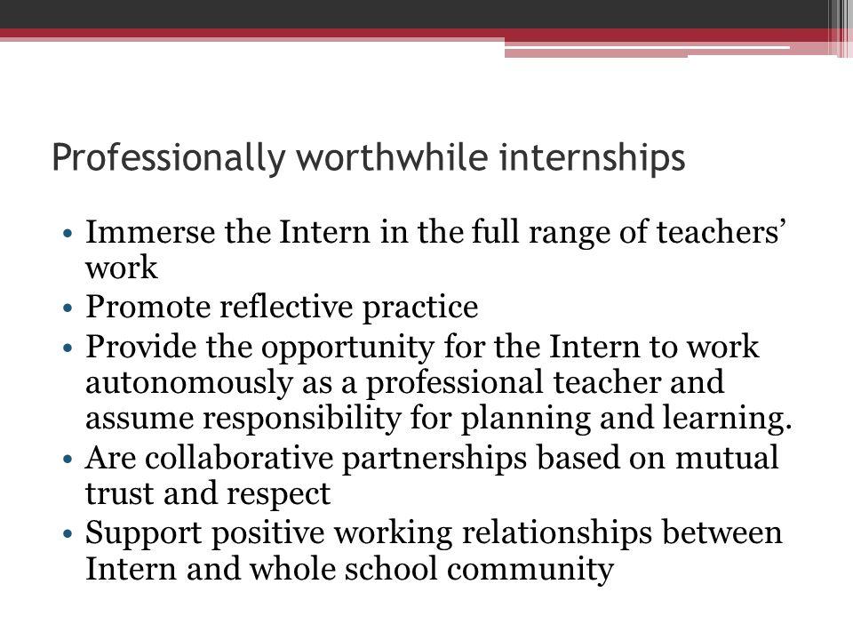 Professionally worthwhile internships