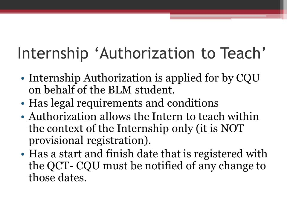 Internship 'Authorization to Teach'