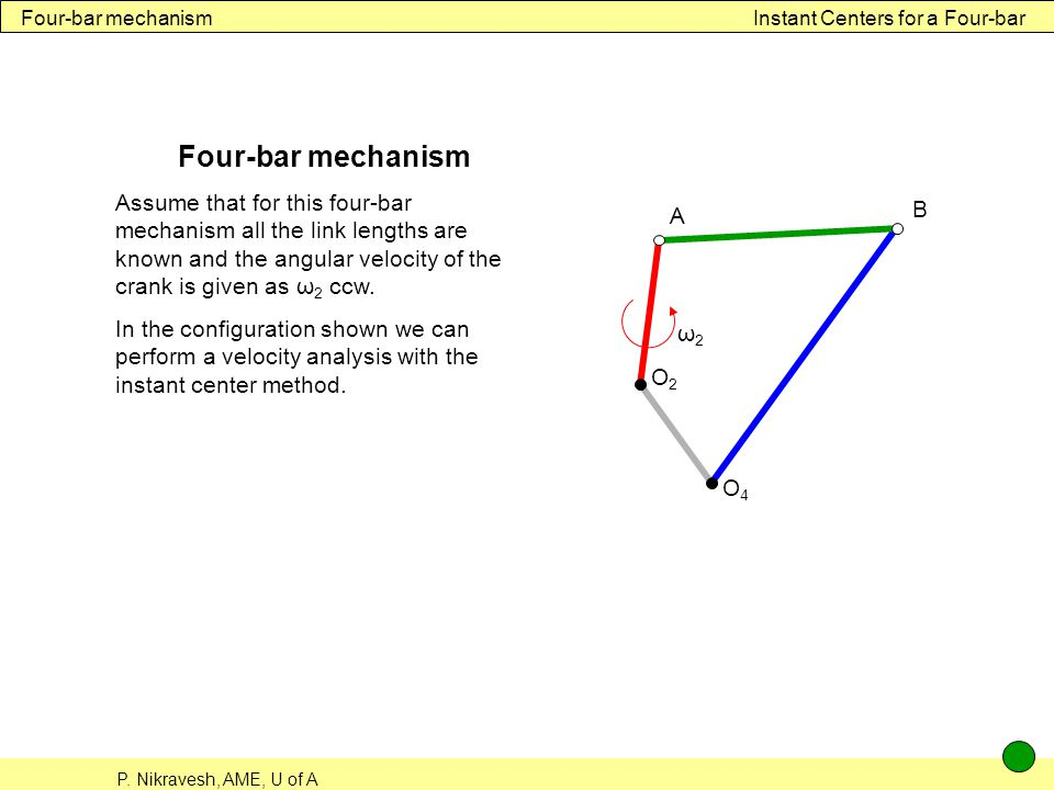 Four-bar mechanism Instant Centers for a Four-bar. Four-bar mechanism.