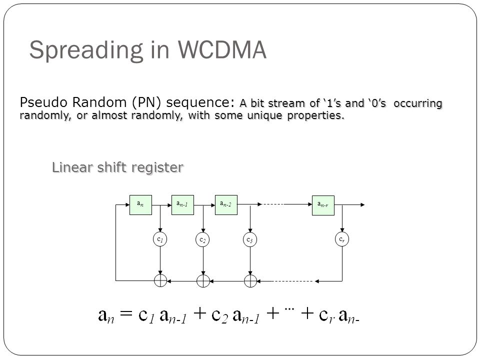 Spreading in WCDMA Pseudo Random (PN) sequence: A bit stream of '1's and '0's occurring randomly, or almost randomly, with some unique properties.