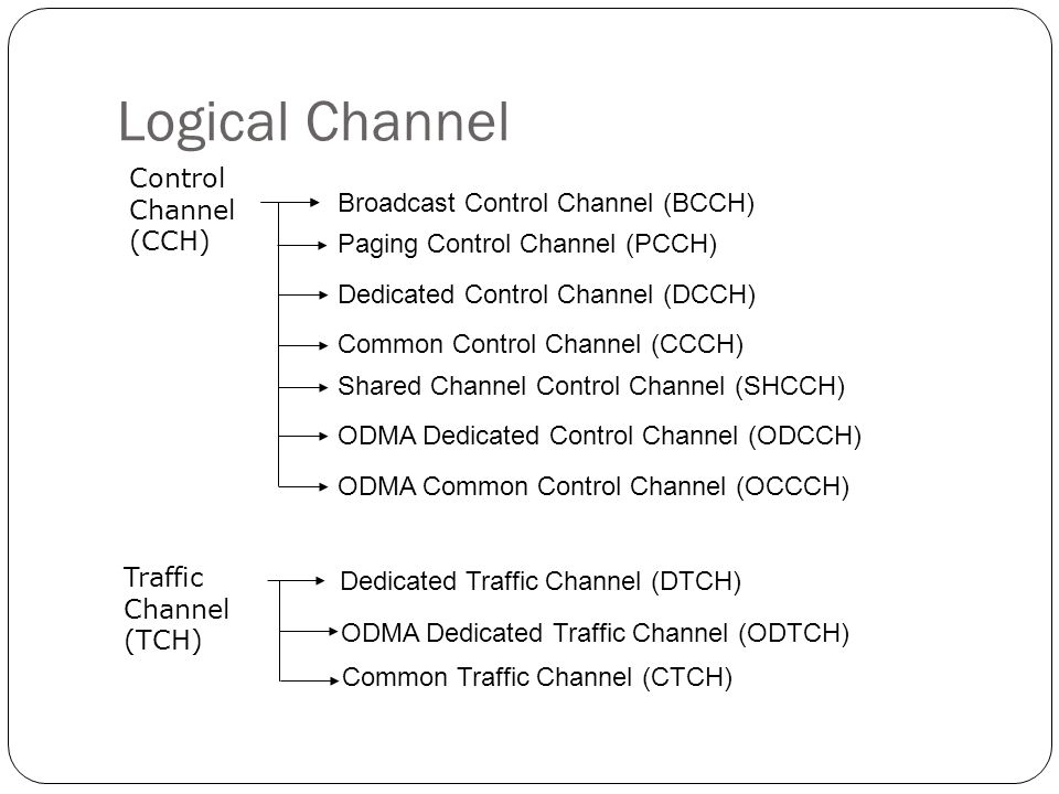 Logical Channel Control Channel (CCH) Broadcast Control Channel (BCCH)