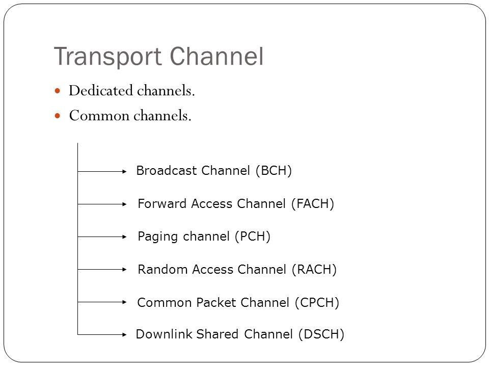 Transport Channel Dedicated channels. Common channels.