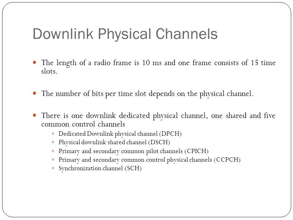 Downlink Physical Channels